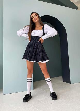 Школьное приталенное хлопковое платье-двойка с пышной юбочкой