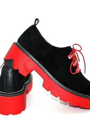 Женские чёрные туфли на красной подошве с молнией на внутренней стороны 110075