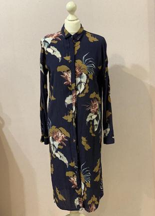 Платье рубашка цветочный принт вискоза