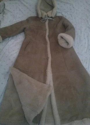 Дубленка шуба пальто польша бежевая с разрезами