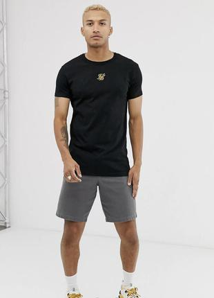 Черная мужская футболка с лампасами по боку хлопок siksilk