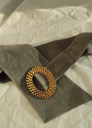 Ремень пояс винтаж широкий на талию бедра массивная пряжка уожа замшевый замша
