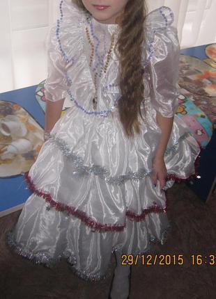 Очень красивое платье для нового года снежинка снегурочка утренник1