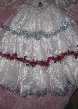 Очень красивое платье для нового года снежинка снегурочка утренник4