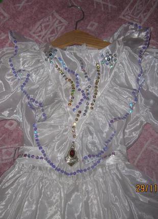 Очень красивое платье для нового года снежинка снегурочка утренник3
