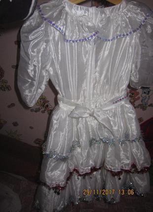 Очень красивое платье для нового года снежинка снегурочка утренник5