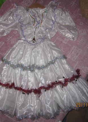 Очень красивое платье для нового года снежинка снегурочка утренник2