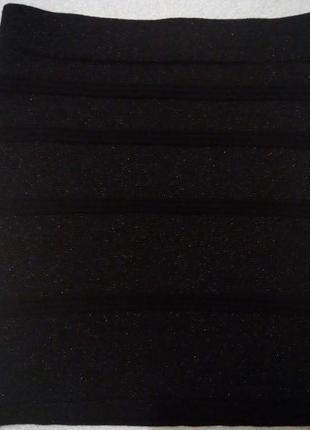 Трикотажная мини юбка из люрексовой нитки