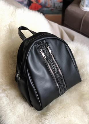 Черный городской рюкзак стразы из экокожи