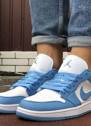 Мужские кожаные низкие кроссовки nike air jordan 1 low 🆕голубые с белым найк аир джордан🆕