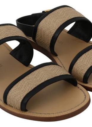 Черно-бежевые кожаные льняные сандалии dolce & gabbana