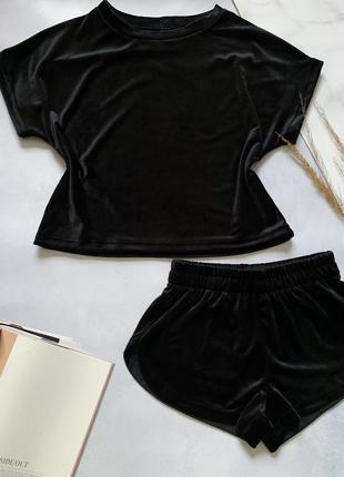 Черная пижамка  плюш  велю шорты и футболка пижама костюм для дома и сна