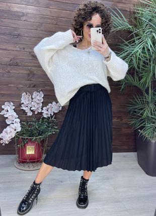Женская юбка миди плиссе серая черная трикотаж s m