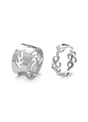 🔗парные кольца набор колец с пламенем трендовое кольцо с огнём массивное кольцо серебряное кольцо