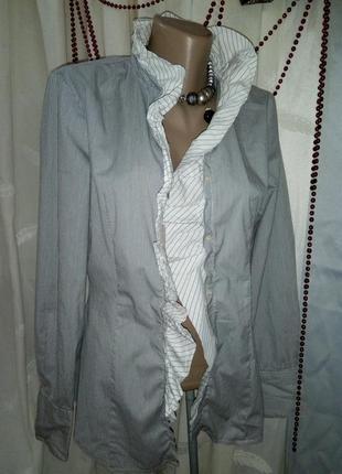 **united colors *** нарядная блуза с рюшами uk 8 пог-49см 02