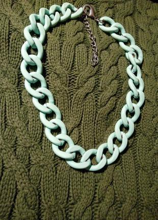 Колье цепь stradivarius мятный цвет