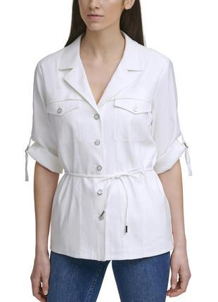 Пиджак рубашка calvin klein лён размер s