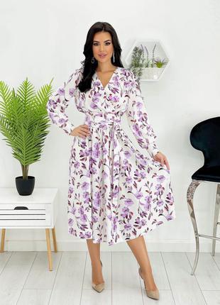 Платье женское миди длинное нарядное цветочное легкое с рукавом