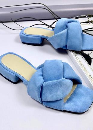 Рр 38.голубые шлепки шлепанцы косичка из натуральной замши
