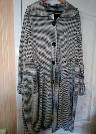 Новое пальто накидка кардиган в стиле бохо гусиная лапка