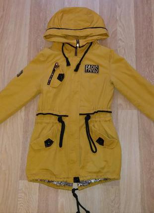 Модная демисезонная курточка-парка горчичного цвета olanmear collection1