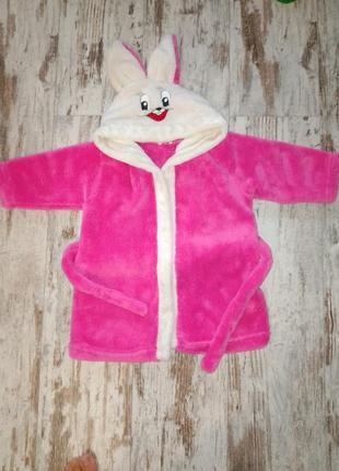 Халат халатик зайка для девочки розовый тёплый