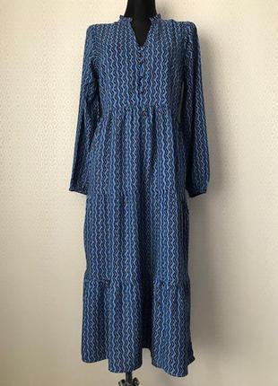 Длинное ярусное платье красивого цвета 100% вискоза от papaya, размер 10, укр 42-44-46
