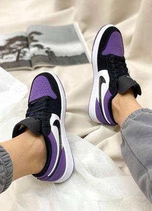 Женские короткие демисезонные кроссовки nike air jordan🆕фиолетовые с черным найк аир джордан🆕