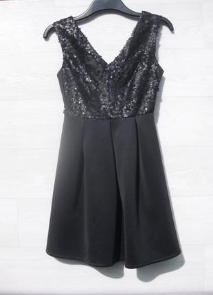 Платье atmosphere чёрное расшитое матовыми пайетками блестящее