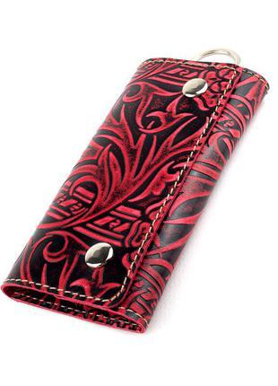 Ключница кожаная амелия (бордовая)