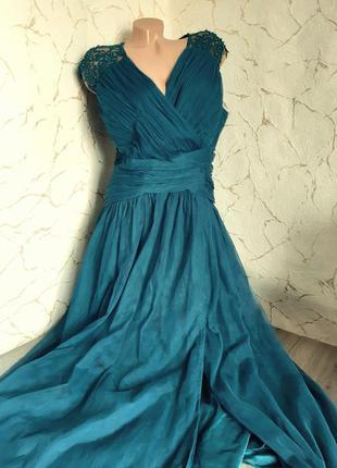 Вечернее платье сукня длинное фатин синее