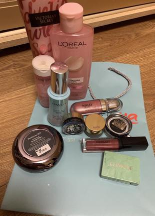 Лот косметики блеск, тени, пудра payot, kiko,tarte, clarins, victoria's secret, l'oréal