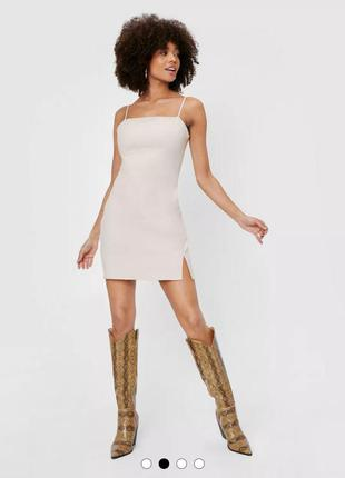 Льняное бежевое платье nasty gal