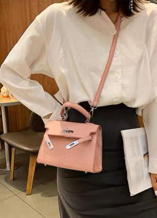 Сумка сумочка через плечо плече с длинным ремешком кожаная из эко кожи шкіряна з еко шкіри розовая рожева шоколадная коричневая