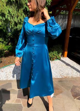 Платье миди морская волна синее 😍