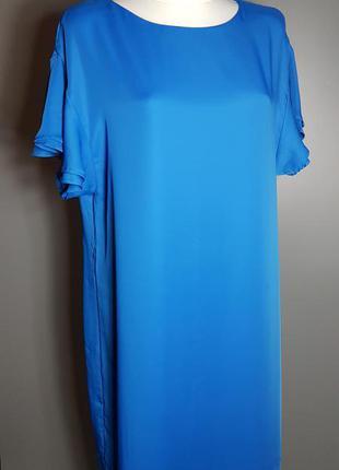 Платье короткое синее с коротким рукавом воланами свободное ровное h&m