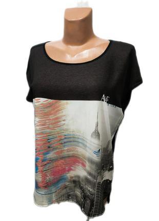 Яркая свободная футболка с принтом abercombie & fitch