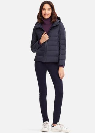 Ультралегкая бесшовная черная пуховая куртка пуховик с капюшоном seamless parka uniqlo s,m