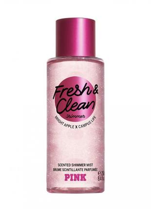Спрей для тела fresh & clean с шиммером victoria's secret