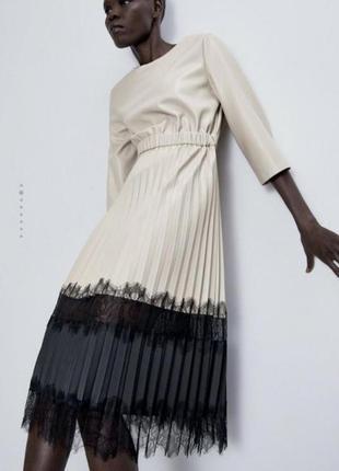Новое платье плиссе zara из екокожы.