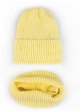 Шапка светло желтая велюровая пряжа 🧶🥰 очень мягкие 😍 комплект шапка хомут снуд