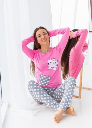 Піжама жіноча з котиком - штани в горошок