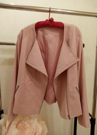 Пудровая куртка жакет батал