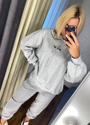 Костюм серый женский спортивный худи оверсайз штаны с разрезом