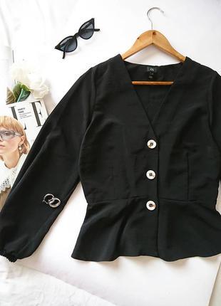 Елегантна вкорочена блуза/блузка на золотистих гудзичках ✨, з баскою river island, на р. м/l