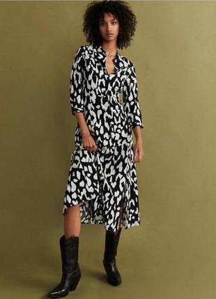 Тренд! платье- рубашка с контрастным набивным рисунком от mango 100% вискоза