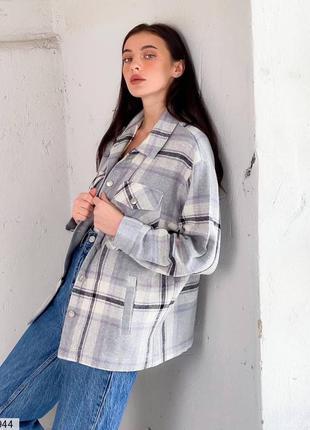 Теплая шерстяная рубашка в клетку, пальто, ветровка, серая, р-ы 42-48