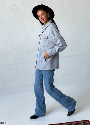 Теплая шерстяная рубашка, куртка , пальто, ветровка, серая, р-ы 42-48