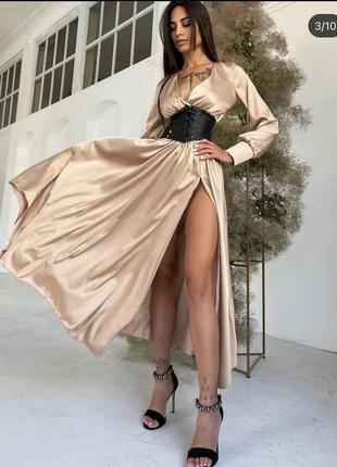 Шикарное шелковое платье с корсетом