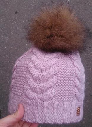 Стильная теплая шапка на флисе, шапка с бубоном